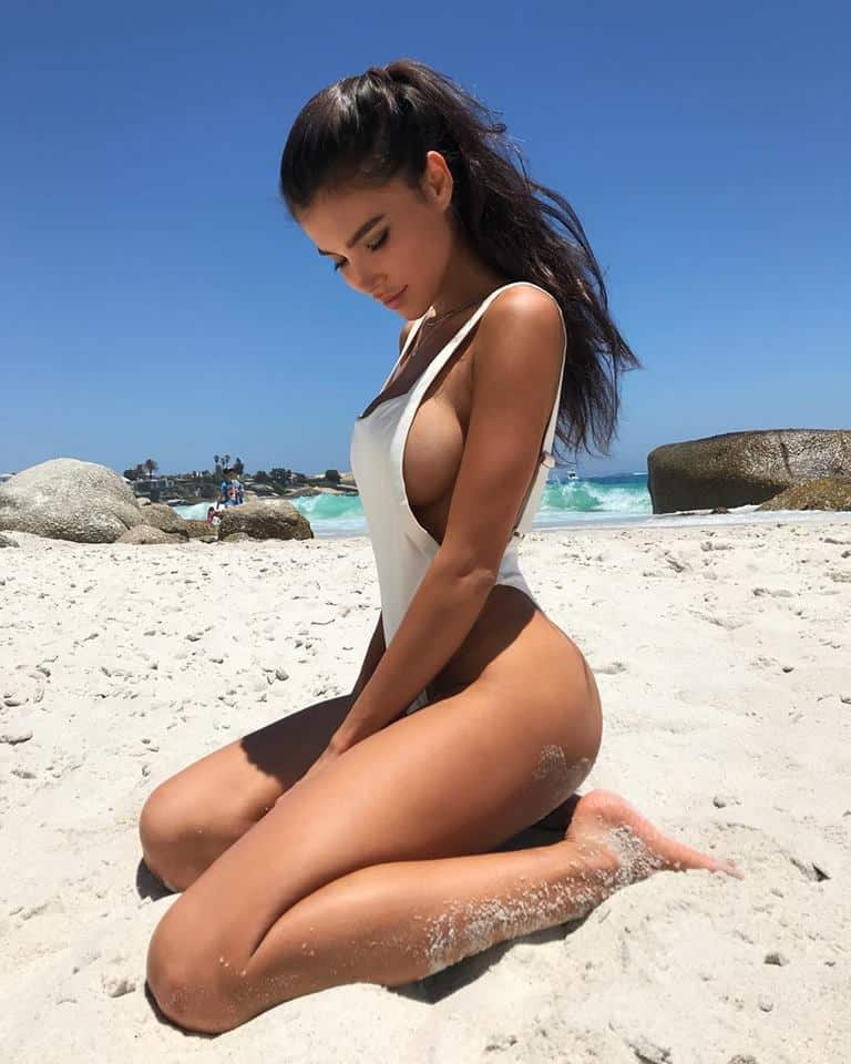 Svetlana Bilyalova showing hot body on the beach