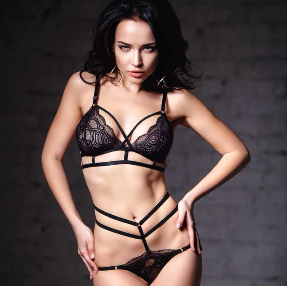 Angelina Petrova looking good in black lingerie