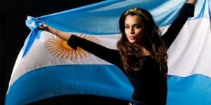 Hot woman from Argentina holding flag
