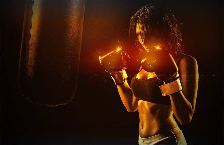 athletic woman - girl boxer