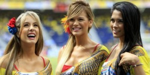 Beautiful Colombian women at event