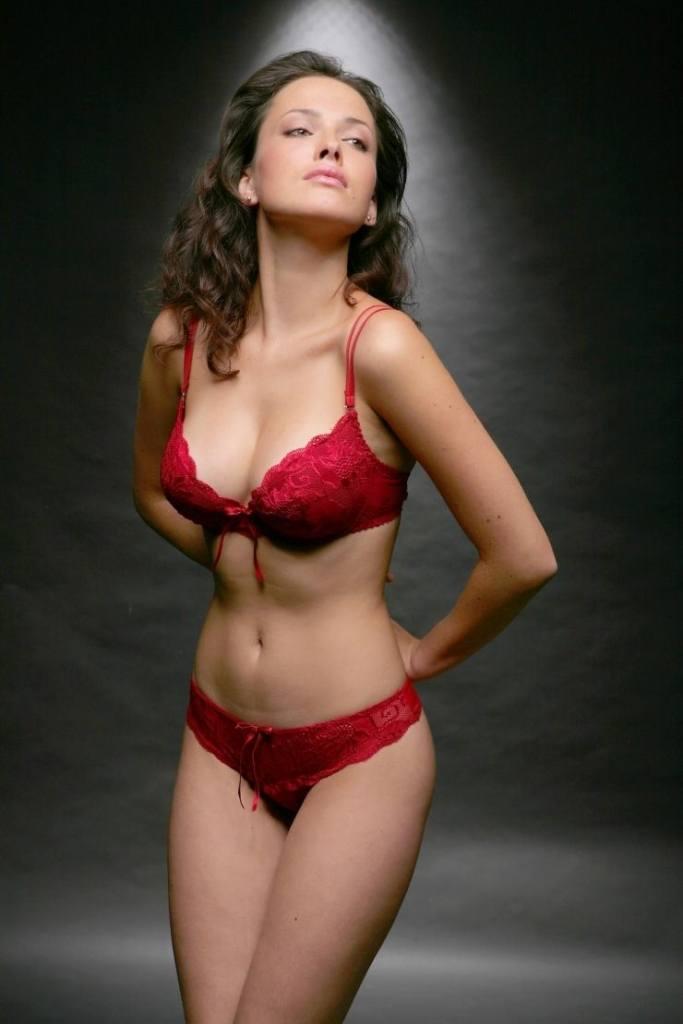 Dasha Astafieva in red laced bikini lingerie