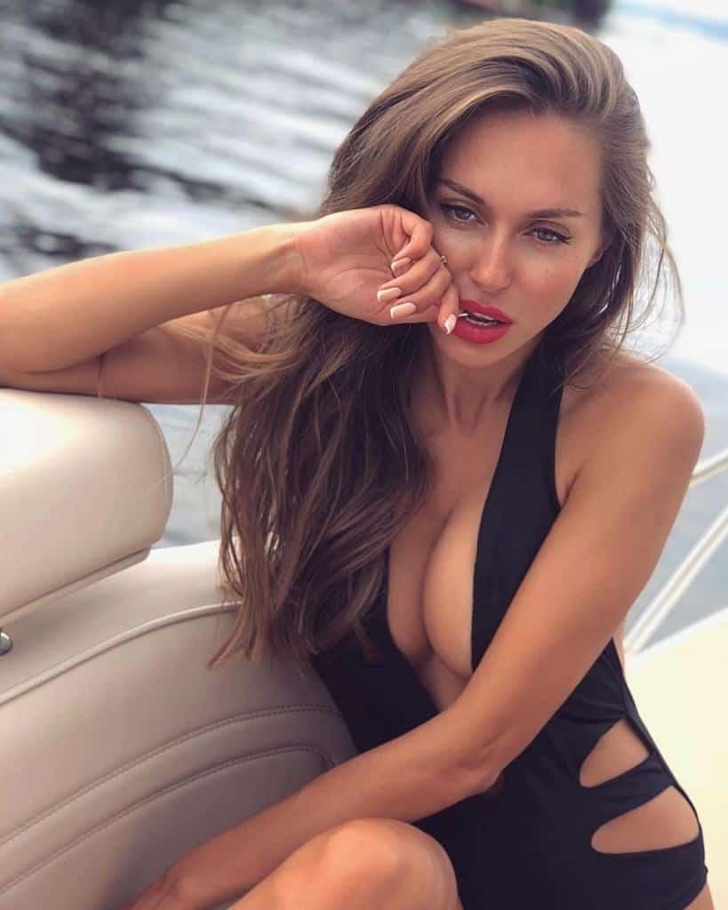 Galinka Mirgaeva in hot black one piece bikini