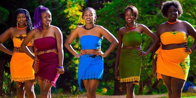 Kenyan women wearing colorful clothes