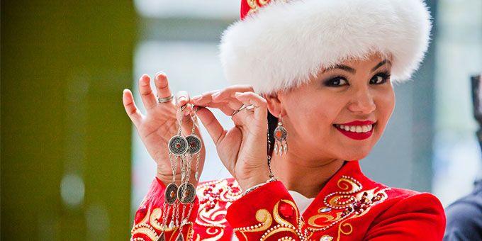 Kazakh woman wearing traditional wedding dress