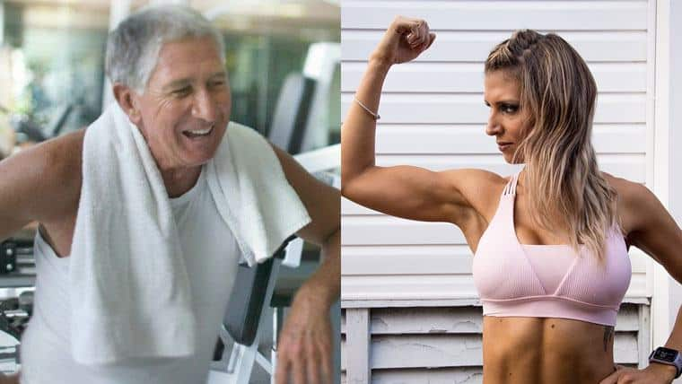 old man and a strong fit woman
