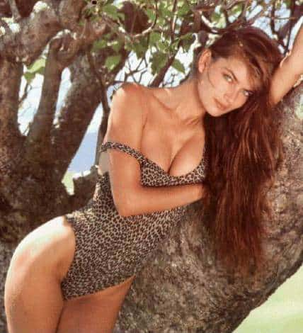 Paulina Porizkova in leopard print bikini