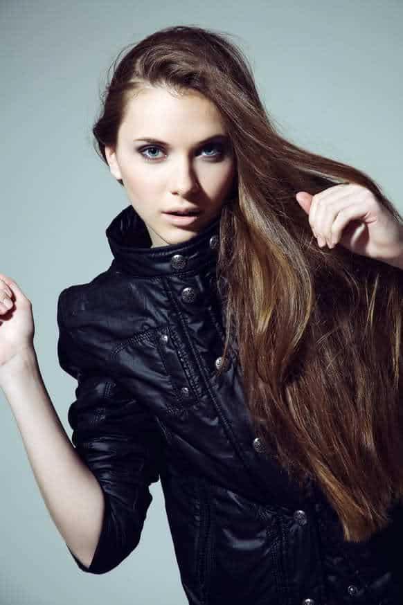 Sofia Lomyuga wearing black leather jacket
