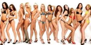 Group of European girls in bikini