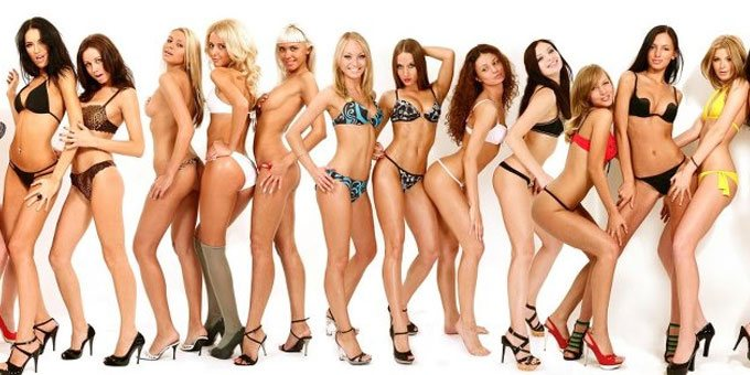 Group of European girls in bikini