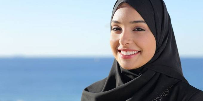 Attractive Emirati girl with a cute smile