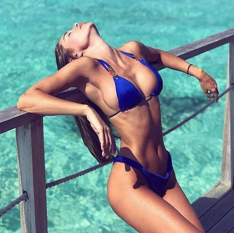 Galinka Mirgaeva sizzling hot in blue bikini
