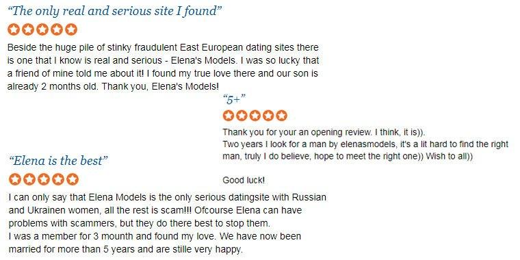 Elena's models positive reviews