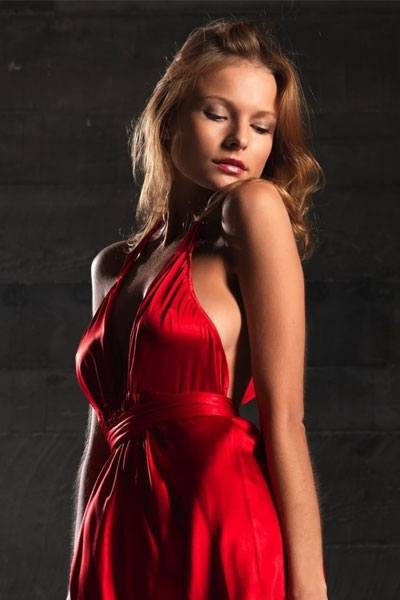Luba Shumeyko stunning in red dress