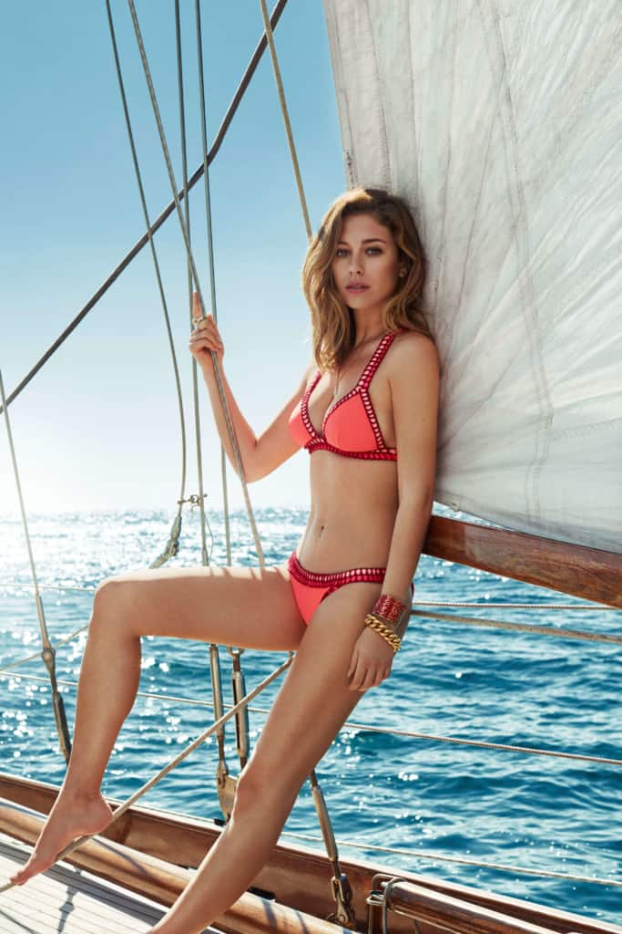 Blanca Suárez sexy in red bikini at the boat