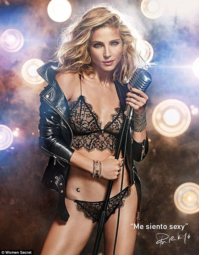 Elsa Pataky black sexy lingerie holding a mic