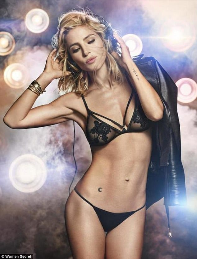 Elsa Pataky lingerie and headphones