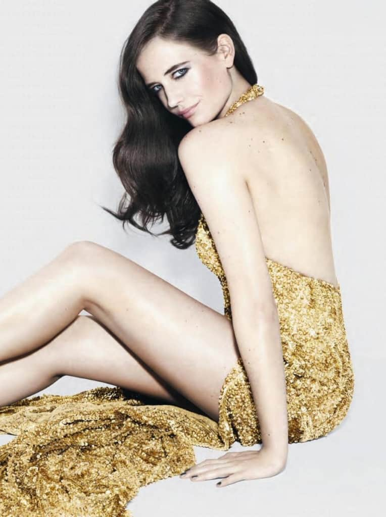 Eva Green in shining gold dress
