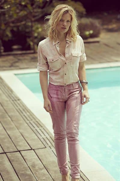 Melanie Thierry style icon beside the pool pictorial