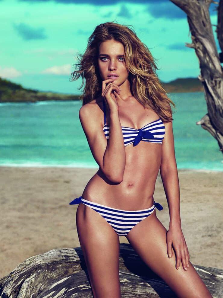 Natalia Vodianova in blue stripes bikini
