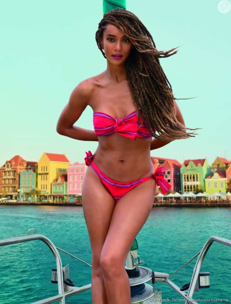 Taís Araújo hot in red bikini pictorial on a boat