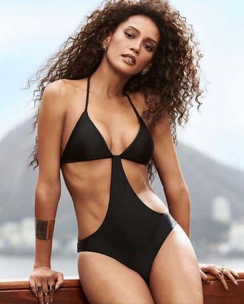 Taís Araújo in black sexy bikini