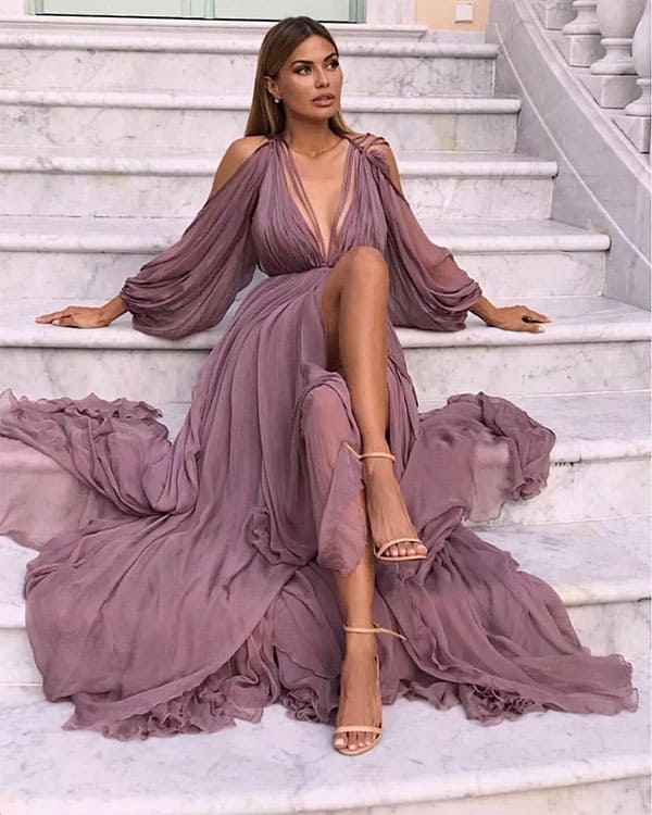 Victoria Bonya looking elegant in a stair photoshoot