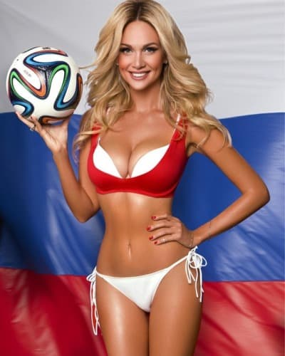 Victoria Lopyreva holding a soccer ball