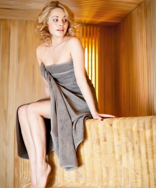 Zoya Berber at a sauna spa room