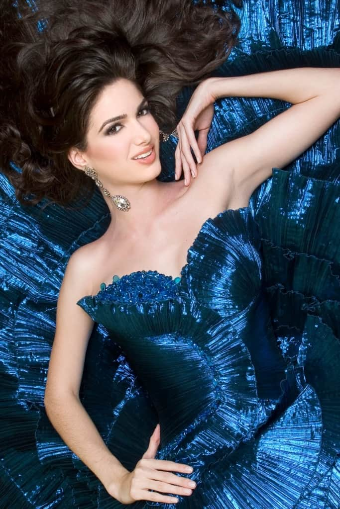 Adriana Vasini in a glamorous blue dress