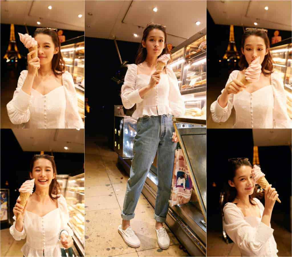 Li Qin eating and enjoying ice cream