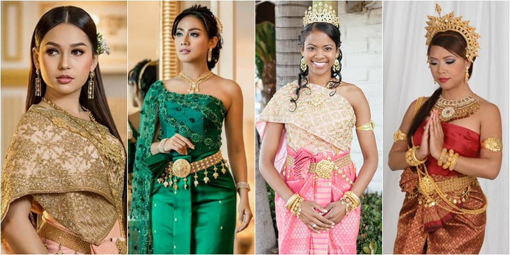 Cambodian brides in their traditional wedding dresses