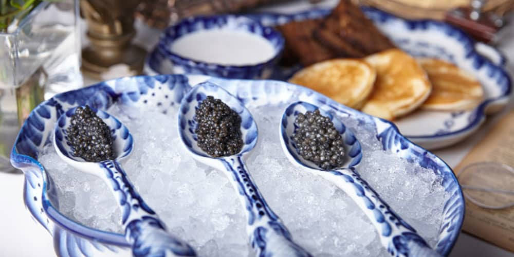 spoons of caviar on ice from Tsar restaurant