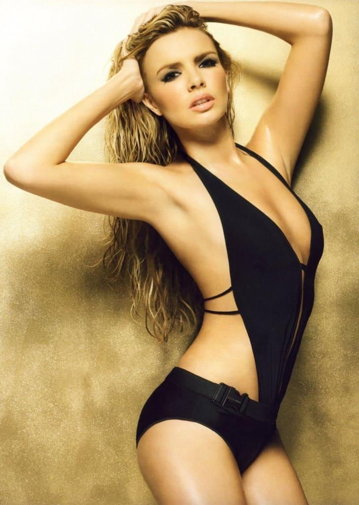 Nadine Coyle sexy Irish model in black swimsuit