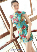 pretty Chinese babe in a floral dress