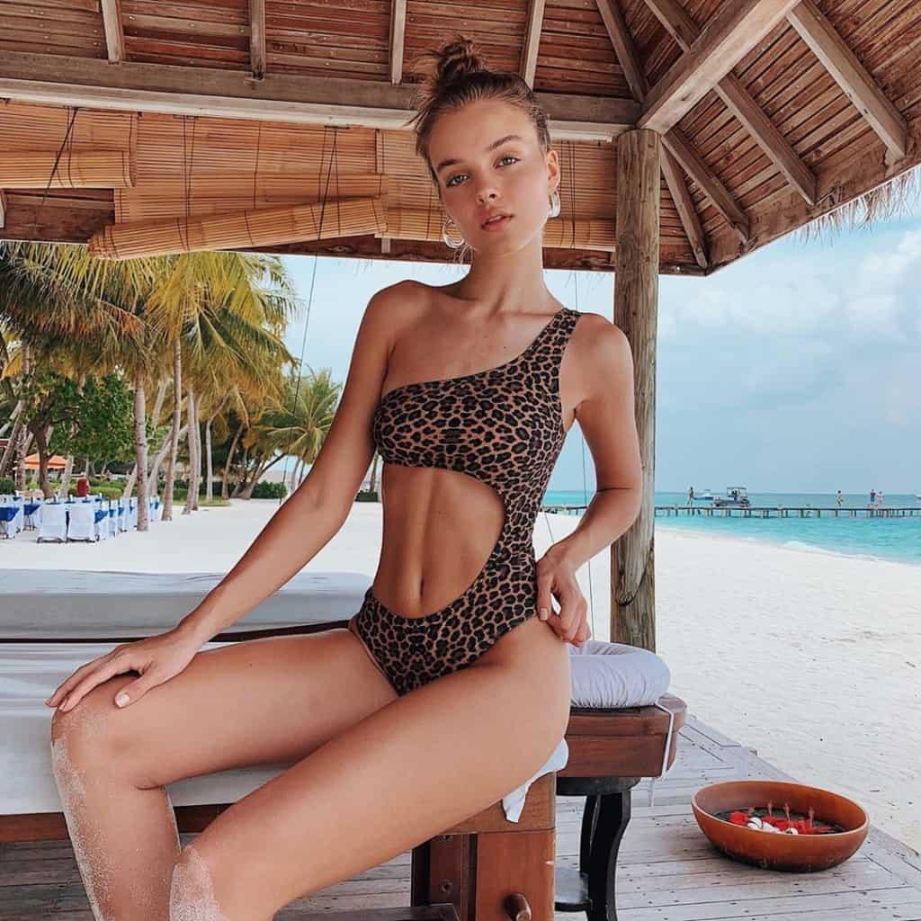 Anna Zak in leopard print bikini