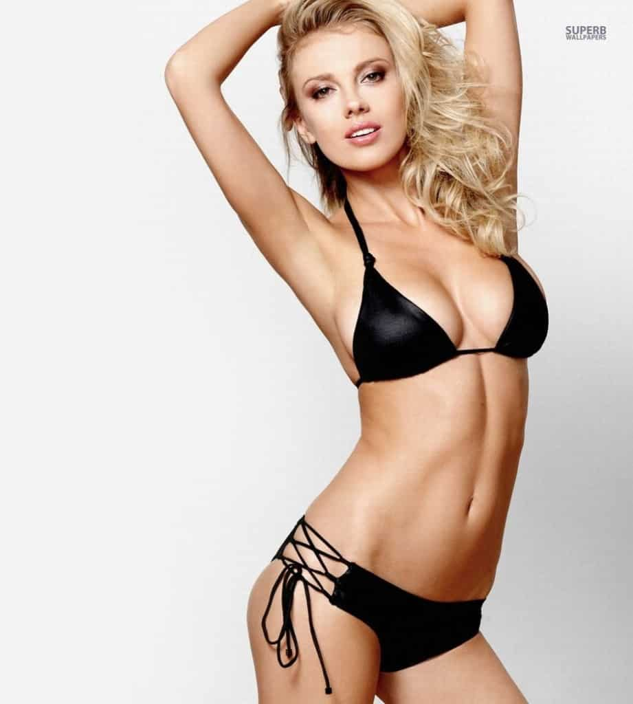 Bar Paly hot in a two piece black string bikini