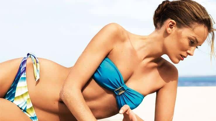Charlott Cordes hot in blue bikini