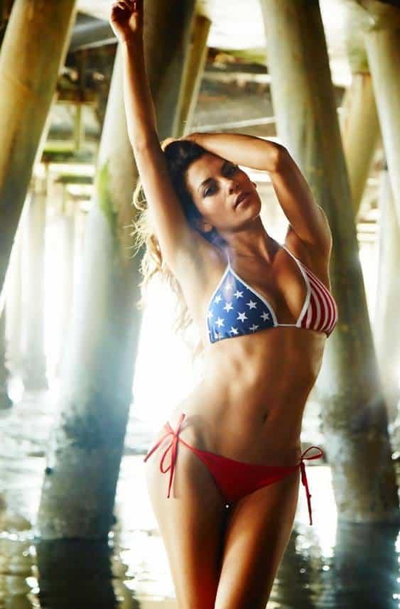 Inbar Lavi bikini picture with USA flag design