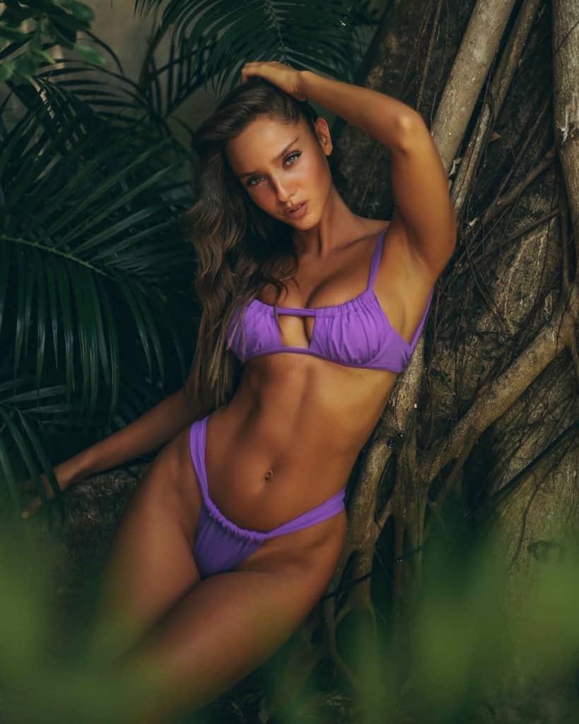 Neta Alchimister hot in purple two piece