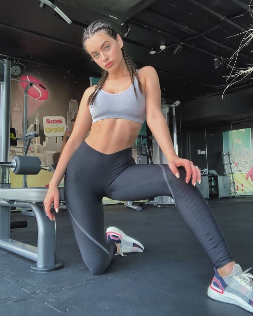 Yael Shelbia at the gym