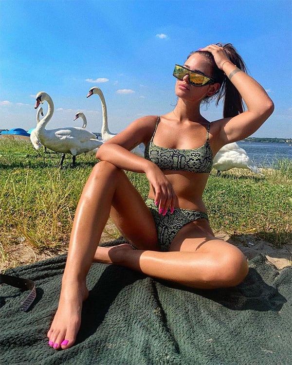 Honorata Skarbek two piece snakeskin design bikini
