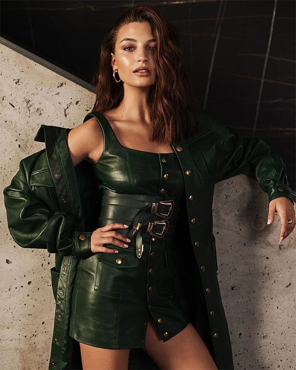 Julie Wieniawa simply gorgeous in a green leather suit