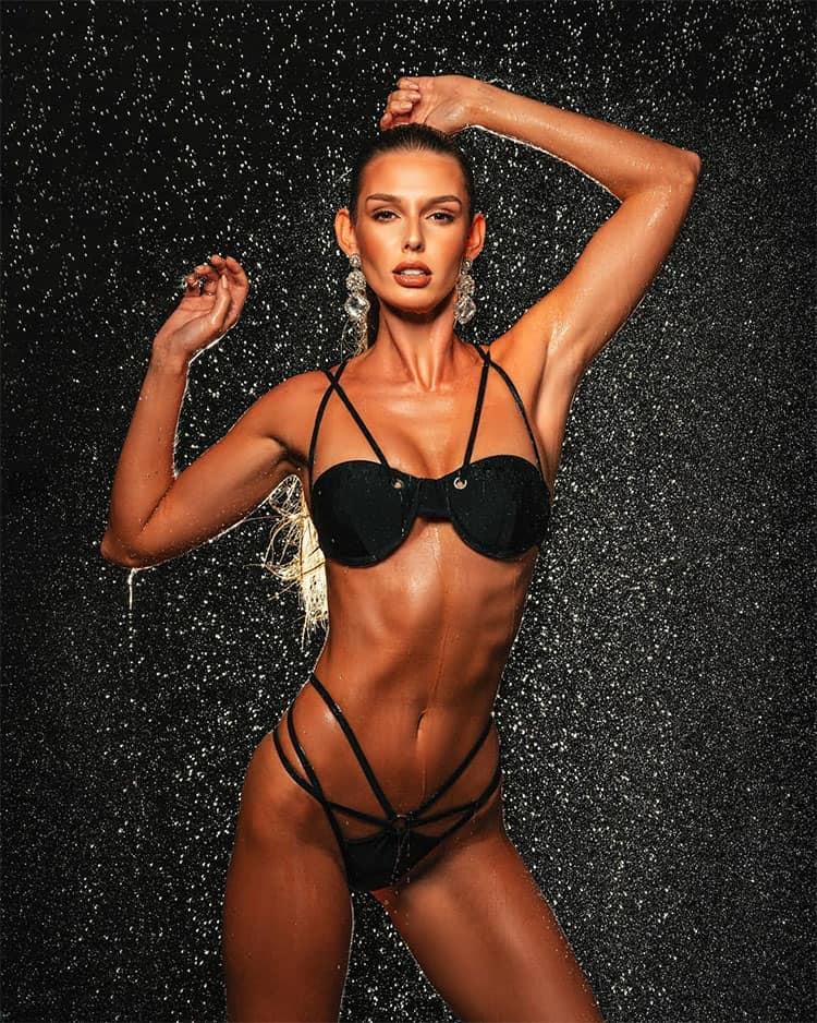 Marta Magdalena Stepien wet and wild in black two-piece