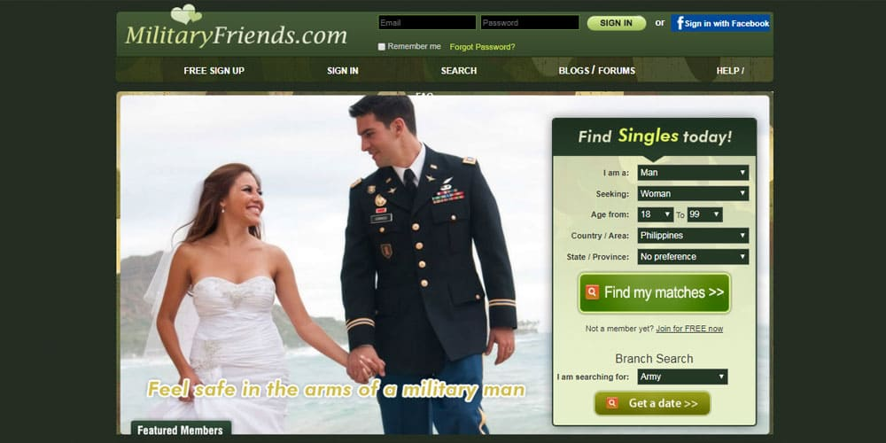 MilitaryFriends.com front page