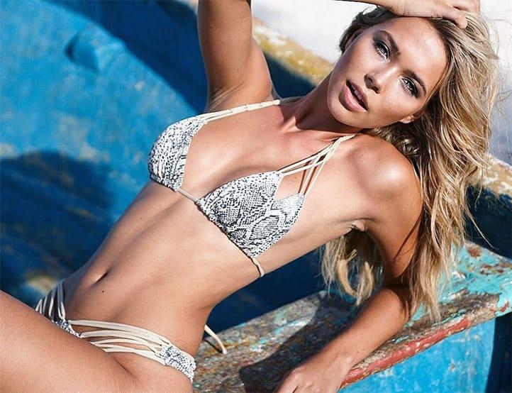 Sandra Kubicka wearing snakeskin bikini
