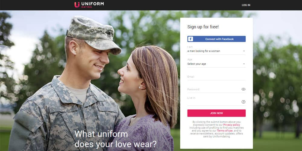 Uniform Dating signup page
