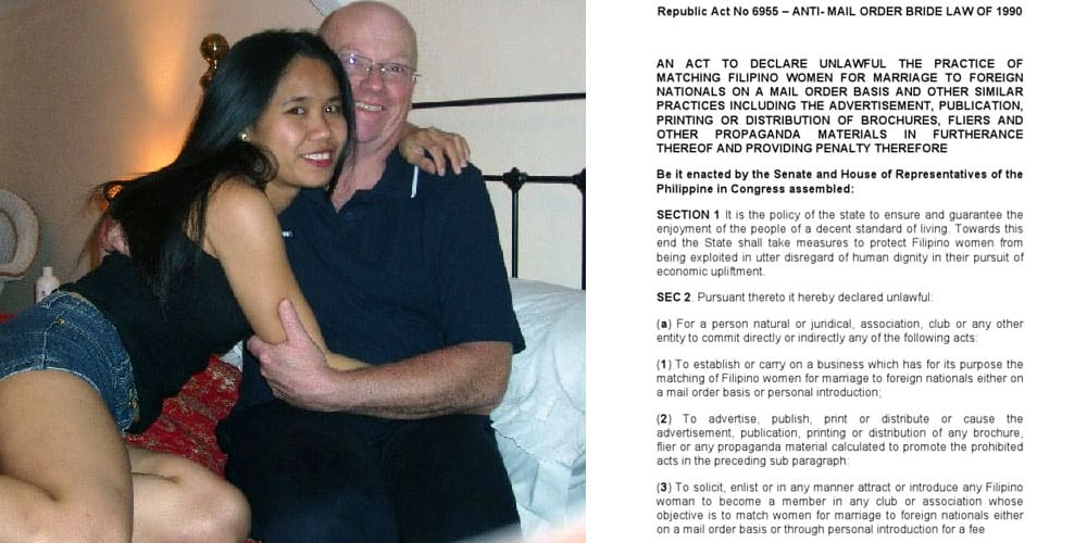 Filipina bride and foreigner man and Philippine law