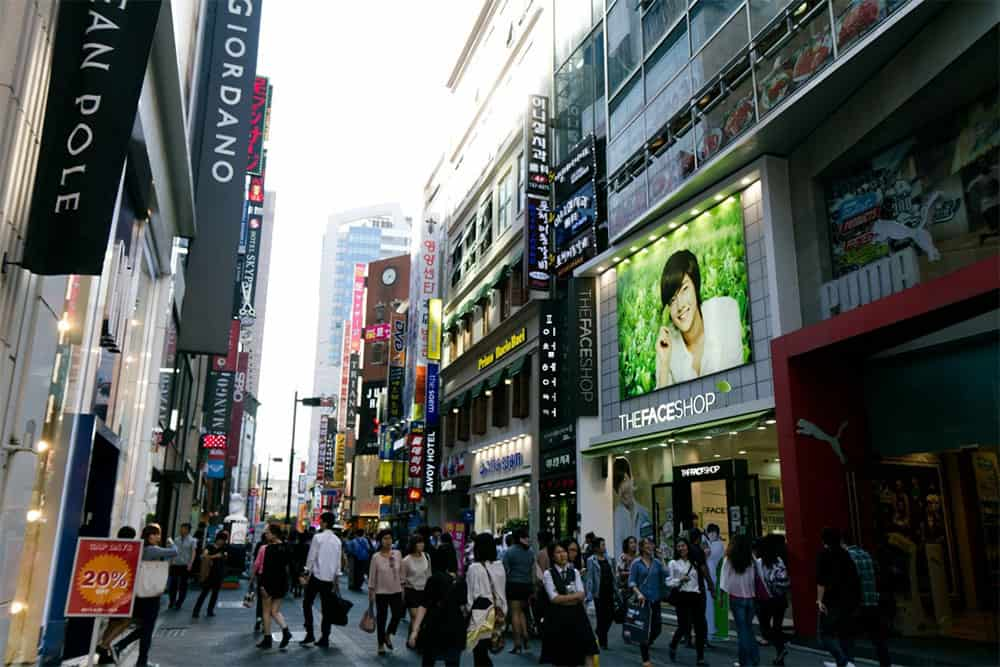 busy shopping lane in Seoul, Korea