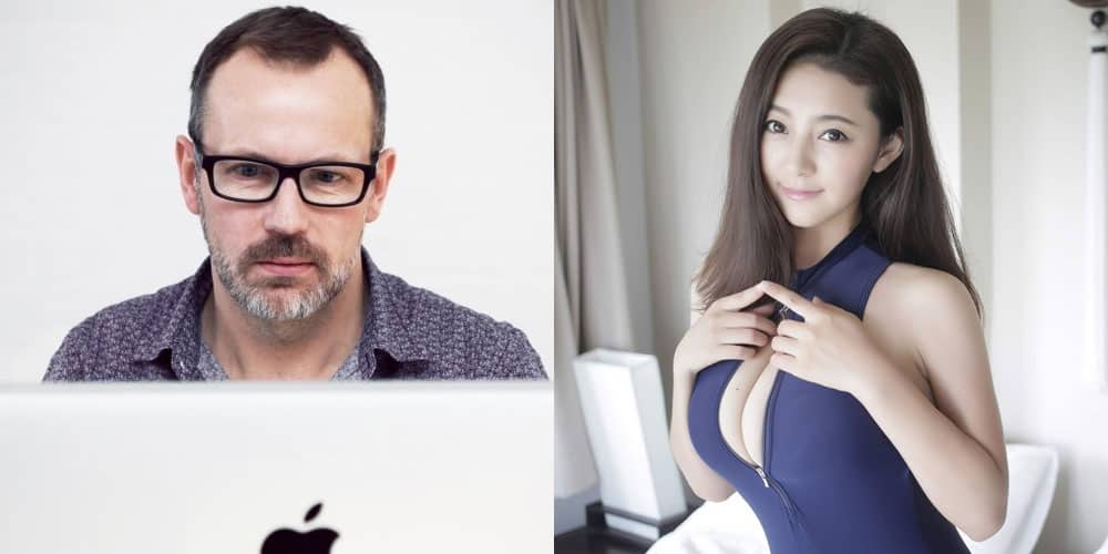man on computer and a sexy and cute Korean girl